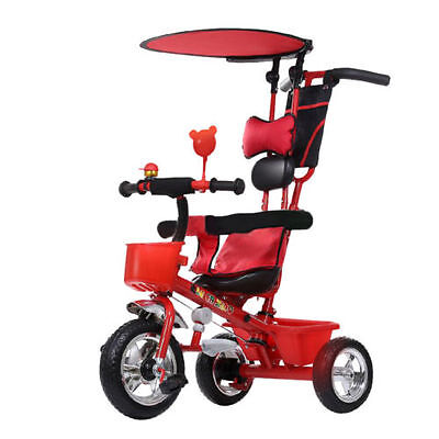4In1 Kids Childrens Tricycle 3 Wheel Toddler Ride Bike with Parent Handle Push