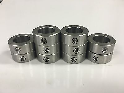 """(100pcs) 1/4"""" Inch Stainless Steel Shaft Collar - Solid - Set Screw - SSC-025"""