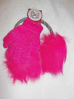 Girl's SO Hot Pink Ear Muff and Glove Set - One Size Fits Most - NWT