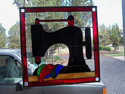 Stained Glass Quilt Pattern BLACK ANTIQUE SEWING MACHINE A One of a Kind Piece