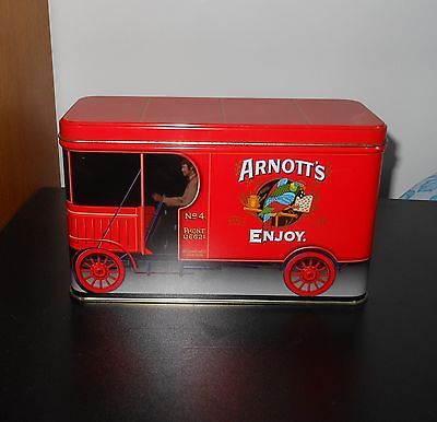 """ARNOTT'S """"RED TRUCK"""" SA-004 COLLECTIBLE BISCUIT TIN~ Superb Condition!"""