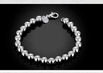 Classic Women's 925 Sterling Silver Layered 8mm Solid Ball Chain Bracelet Bangle