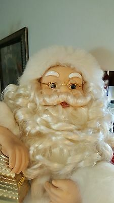 Vintage Animated Christmas Santa Claus With Lantern 32 Inches