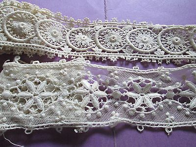 Antique/flower lace off white Guipure very nice design -2 pieces/France
