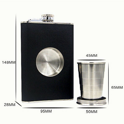 Fashion Steel Hip Flask With Collapsible SHOT GLASS Wraped with Leather