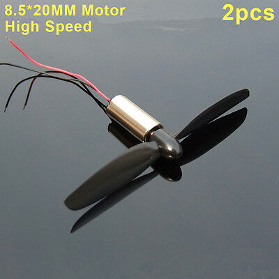 2pcs Mini Coreless DC Motor+ Blade DC3-5V High Speed for RC Aircraft Helicopter