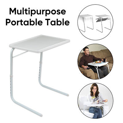 Foldable Table Laptop Dinner TV Bed Office Portable Desk Adjustable Height Angle