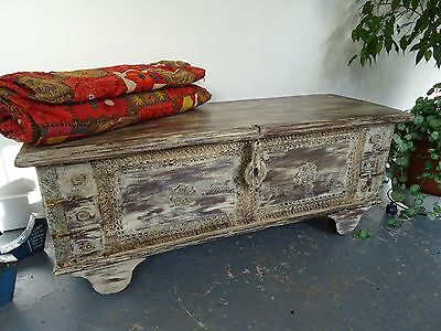 Rajasthan Wooden Painted Chest with Brass 116cm Wide, Indian Chest B11