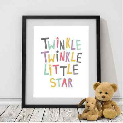 Canvas Twinkle Twinkle Little Star Nursery Print Decoration Picture Décor