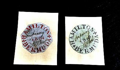 Great Britain Ocupattion Bermuda 1848-1854 Perot Provisional Two Values,fakes