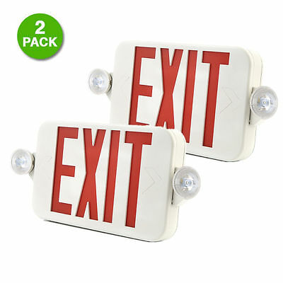 2 Pack LED Red Exit Sign Emergency Light RED Compact Combo with Battery New BY