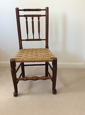 Antique Oak Dining Kitchen Chair with woven seagrass seat