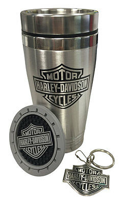 GENUINE HARLEY DAVIDSON BAR&SHIELD KEY CHAIN RING BIKERS Car cup holder coaster