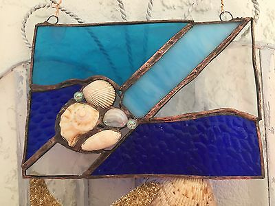 LEADED STAINED Cobalt Blue GLASS Sea Shells Copper Foil Suncatcher WINDOW Decor