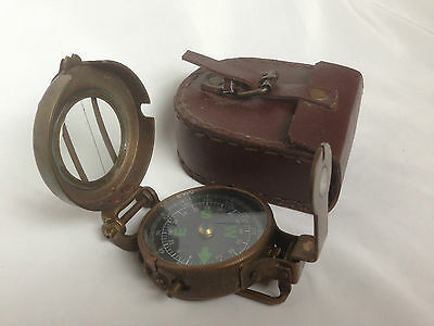 British Brass Military Pocket Compass Lensatic Antique finish with Leather case