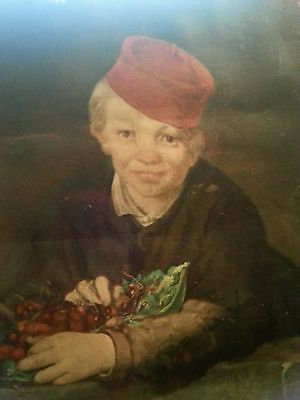Antique Oil Portrait The Boy with Cherries Edouard Manet 1860 - BEAUTIFUL!