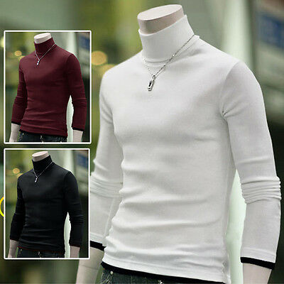 New Men's Casual Turtle Neck Knit Long Sleeve Pullover Jumper Tops Sweater
