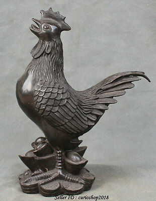 """9"""" Chinese Bronze Feng Shui Luck Zodiac Year Rooster Cock Money Wealth Statue"""