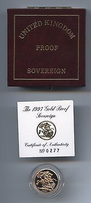 1997  Q.e.ii Gold Proof Sovereign Cased With Certificate