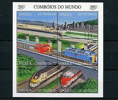 Angola 1997 MNH Trains of World 6v MS I Railways Züge Chemin de Fer Stamps