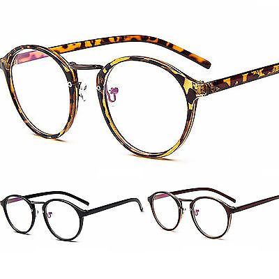Oval Round Slim Frame Clear Lens Fashion Retro Geek Glasses Womens Mens