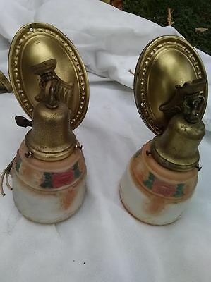 2 Matching Art Deco Bronze & Glass Sconces Hand Painted