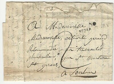 circa 1830s ? Stampless letter Saint-Martory to Octavie Gerard Toulon France