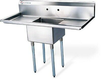 "EQ Compartment Sink Kitchen Commercial Stainless Steel Silver 38""X21.5""X43.75"""