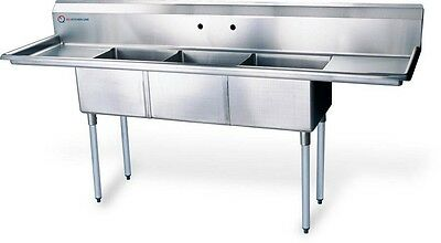 """New Compartment Sink Kitchen Commercial Stainless Steel Silver 62""""X19.5""""X43.75"""""""