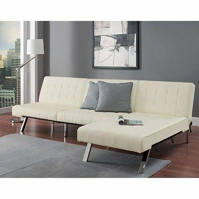 Dhp Emily Faux Leather Chaise Lounge In White Picclick
