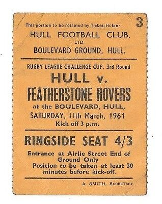 1961 - Hull v Featherstone Rovers, Challenge Cup 3rd Round Match Ticket.