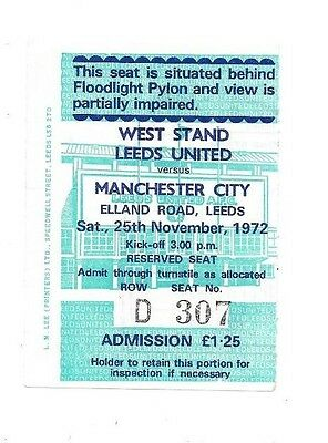 Leeds United v Manchester City, 1972/73 - Division One Match Ticket.