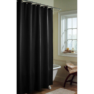 Heavy FABRIC SHOWER CURTAIN LINER WATER REPELLENT Weighted Hem Black