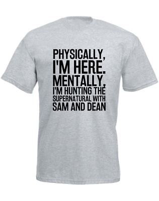 Hunting the Supernatural with Sam & Dean Slogan Printed Mens T-Shirt Casual Tee