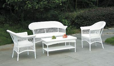 4Pc Rattan Garden Furniture Set Sofa Table Chairs - Garden Patio Conservatory