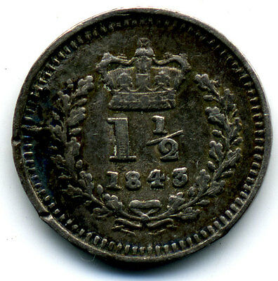 Great Britain Queen Victoria 1843 Sterling 1½ Pence