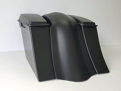 """Baggers Harley Stretched Saddlebags Stock Lids Smooth fender Touring Flh 6"""""""