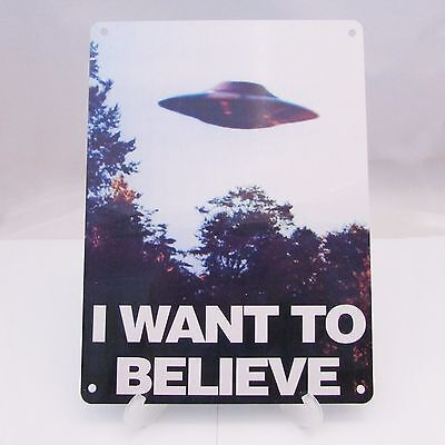 THE X FILES I WANT TO BELIEVE poster on a METAL SIGN PLAQUE UFO ART MOVIE A4