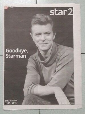 David Bowie TheStar Collectible VERY RARE Memorial Newspaper Tribute Obituary