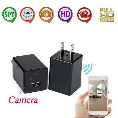 HD 1080P WIFI Mini SPY Hidden Wall Charger Camera Adapter Plug Motion DVR US