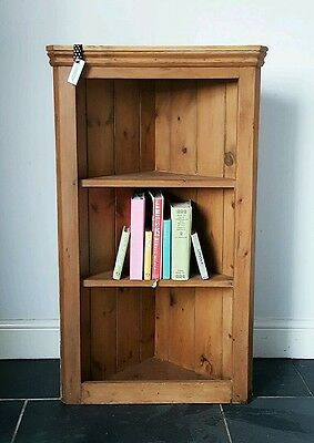 Antique VICTORIAN FARMHOUSE stripped PINE CORNER CUPBOARD shelf