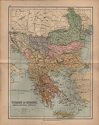 Original 1870 John Bartholomew Map of Turkey in Europe with Greece, Roumania
