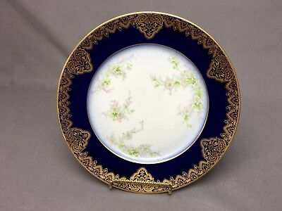 "Antique W.Guerin Limoges Blue Flow 8&3/8"" Plate Gold Detail on Cobalt & Floral"