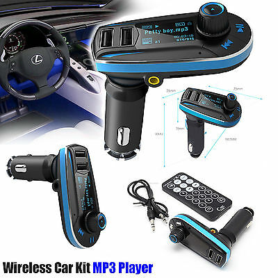Wireless LCD Car MP3 FM Transmitter AUX USB Disk Charger Kit TF UK