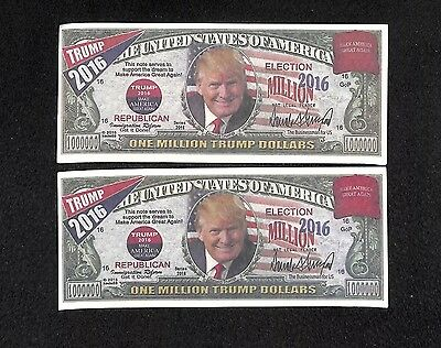 LOT OF 2 President Donald Trump commemorative One Million dollar bill $1,000,000