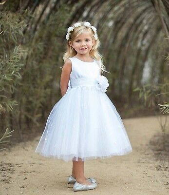 White Flower Girl Dress Rose Bud Tulle Layers Pageant Wedding 12MO 2 4 6 8 10 12