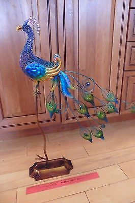 Colorful Peacock statue iron metal glass rhinestone feathers multi-color 24-1/4""
