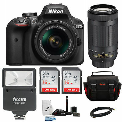 Nikon D3400 DSLR Camera with 18-55 and 70-300mm Lenses + promotional Holiday Kit