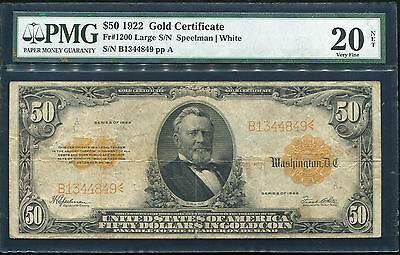 Fr. 1200 1922 $50 Fifty Dollars Gold Certificate Note Pmg Very Fine-20