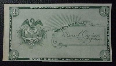 COLOMBIA BANKNOTE 1 Peso, Pick S504 Proof 1900